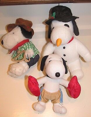 "3 SNOOPY PEANUTS PLUSH 6"" Cowboy, Christmas Snowman Snoopy, Boxer boxing snoopy"