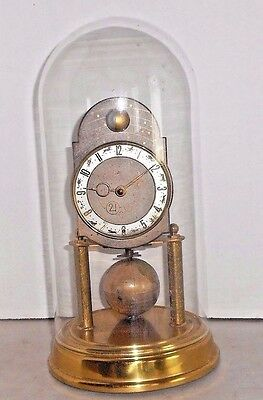 """Vintage German Kaiser """"universe"""" 400 Day Anniversary Clock Under Glass As-Is"""