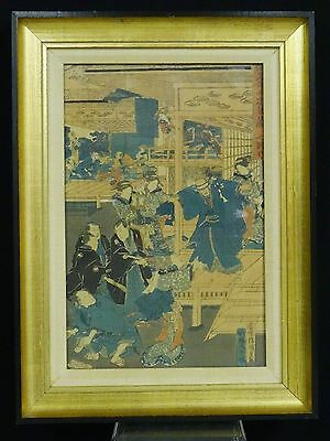 FRAMED ANTIQUE 19 c. JAPANESE COLOR WOODBLOCK PRINT SAMURAI BANQUET