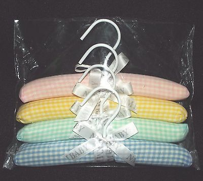 "BABY HANGERS, Soft Padded 10"" Hanger Checkered Pink Yellow Green Blue 4 pcs"
