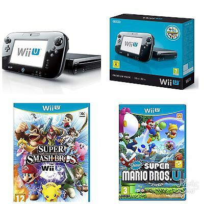 Nintendo Wii U 32 GB Black Console + Super Mario Bros + Super Smash Bros BUNDLE