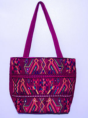 Guatemalan Purse Hand Bag Hand Embroidered Magenta NEW