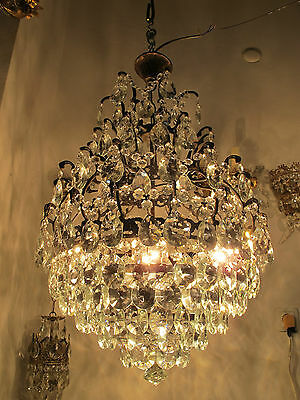Antique Vnt French HUGE Basket /Cage Crystal Chandelier Lamp 1940's 18in dmtr**-