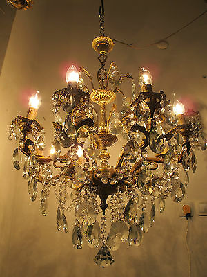 Antique Vintage 8 arms Gold Plated Czech Crystal Chandelier Lamp 1960s Rare*