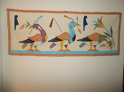 Vintage Egyptian Linen Textile Wall Hanging Ducks