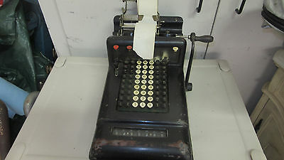 Antique Burroughs 7 Column Adding Machine Hand Crank Antique