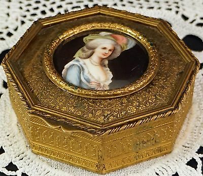 Porcelain Portrait Painting Plaque in Gilded Trinket Box Lovely Lady of Means