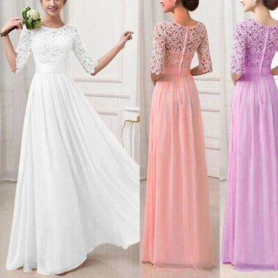 Women Long Lace Evening Formal Cocktail Party Gown Prom Bridesmaid Maxi Dress AU