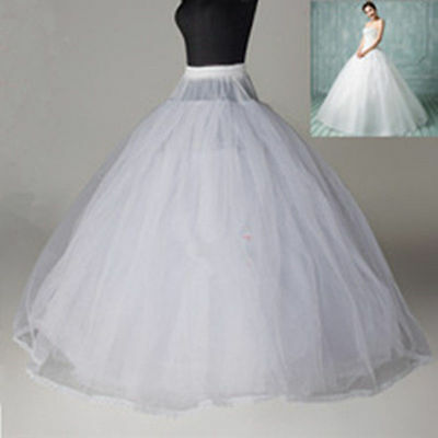White 8 Layer Hoopless Crinoline Petticoat no hoop ball gown wedding Underskirt