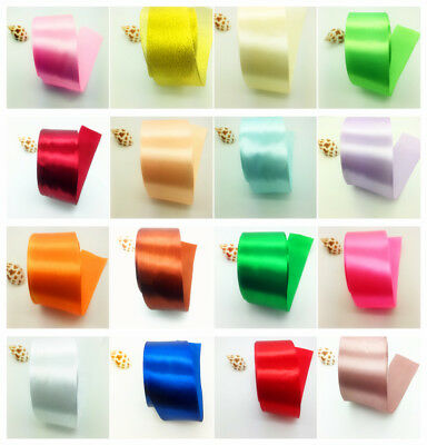 5yds 2Inch 50mm Wide Satin Ribbon Bow DIY Craft Sewing Supplies Pick Colors #UK