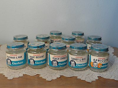 Vintage Gerber Glass Baby Food Jars Lot of 11