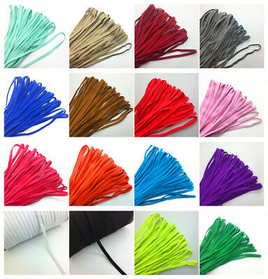 """5yds 1/4"""" 6mm Thickening Satin Elastic Band Trim Sewing Spandex Lace UK"""