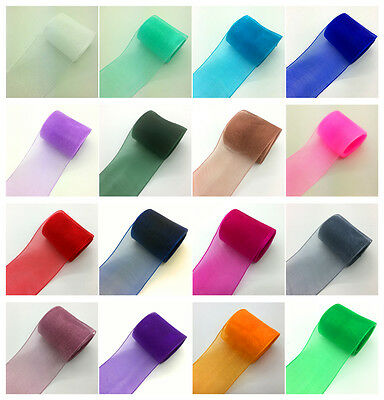 "5yds 2"" (50mm) Satin Edge Sheer Organza Ribbon DIY Bow/Hair/Wedding UK"
