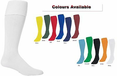 Plain Football Socks Knee High Soccer Hockey Rugby Sports PE Socks All Sizes