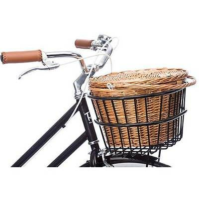 Reid Vintage Front Wicker Bike Basket Kit in Black
