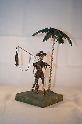 Barbados Wire Sculpture Fisherman With Catch