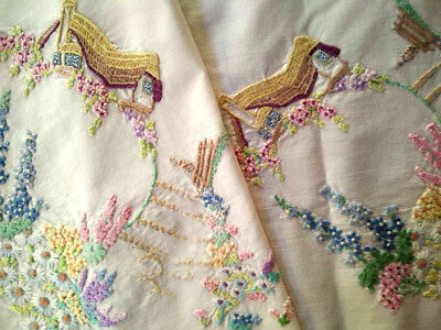 Vintage Thatch Cottage & Gardens ~ Hand Embroidered Tablecloth