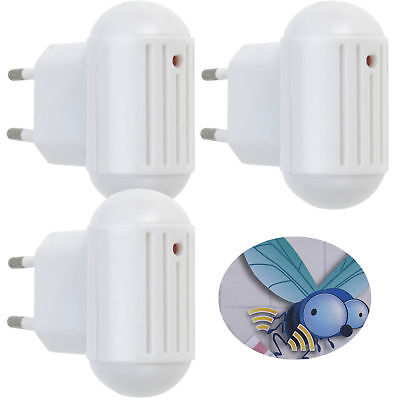 3x LED Ultraschall Mückenstecker Insektenstopp Mücken Stecker Moskitostecker