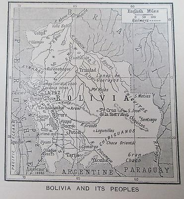 vintage 1934  mini map of Bolivia and its' peoples Native Indigenous
