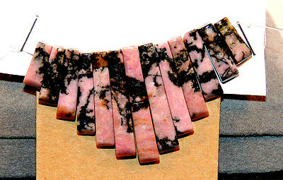 Rhodonite Gemstone Fan 13 piece beads (12613)