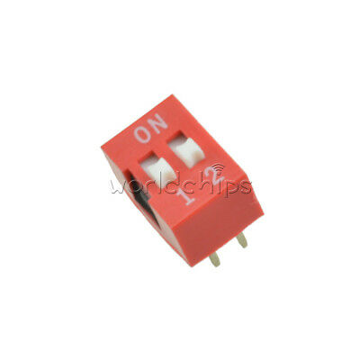 10/20/50/100PCS 2.54mm Pitch 2-Bit 2 Positions Ways Slide Type DIP Switch Red