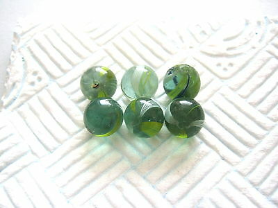 ANTIQUE MARBLE HANDMADE GERMAN 6 GREEN GLASS SWIRL MARBLES 1850 - 1870 6 x 12mm