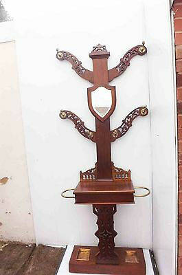 "antique hall stand "" Tree of Life "" mahogany and brass coat & umbrella Stand"