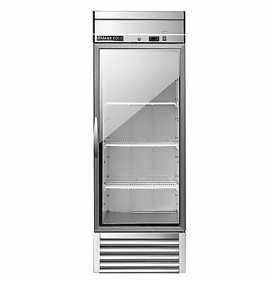 "Maxx Cold MXSR-23GD 27"" 1 One Commercial NSF Glass Door Refrigerator 49cf ALL SS"