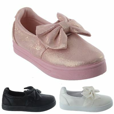 Girls Kids Childrens Flat Big Bow Shimmer Pumps Sneakers Trainers Shoes Size