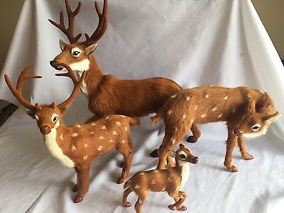 LIFELIKE Deer Figurines Lot Of 4 Soft Lambs Hair Realistic Reindeer Statue