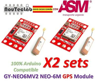 2 sets GY-NEO6MV2 NEO-6M GPS Module NEO6MV2 with Small Antenna ENVIO RAPIDO