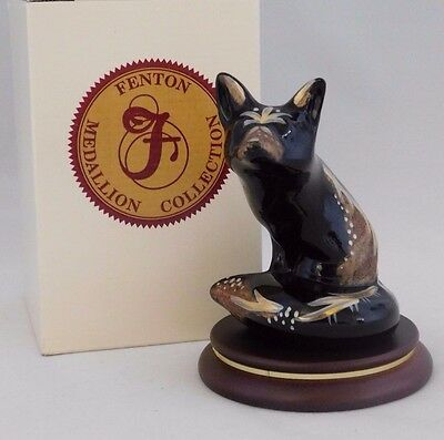 "Fenton Glass Medallion Collection: 1996 Boxed Hand Painted- Signed ""Black Fox"""