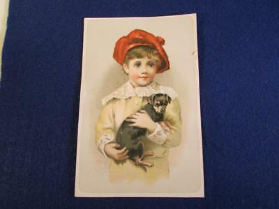 1890's Trade Card Woolsen Spice Toledo Lion's Coffee Boy with Puppy