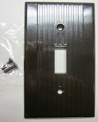 Vintage New Leviton Ribbed Lines Brown Bakelite Switch Plate Wall Cover Art Deco