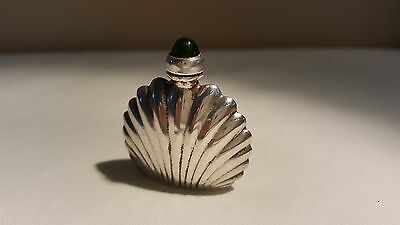 Rare Vintage Mexico Sterling ORMEX Clam Shell Perfume Bottle Green Stone Tip