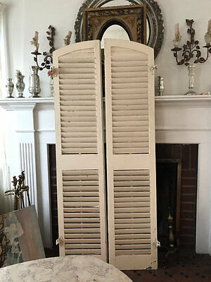 """Fab Pair of Antique Architectural Salvage ARCHED Shutters; Creamy Old Paint 68"""""""