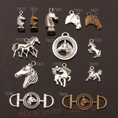 10/100 Pieces Horse Head Charms Connector Tibetan Silver Charm DIY Jewelry A TOP