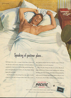 1945WW II. era AD PACIFIC Percale Bed Sheets  Art by Gannam Guy in Bed (061016)