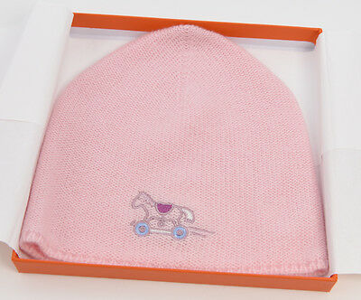 "Brand New Hermes ""adada"" Baby 100% Cashmere Beanie Bonnet Rose Lilas Pink"