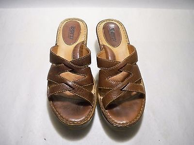 78981e38a187 Born Women s Brown Leather Strappy Sandals Size 7 M W US EUR 38 Style W6497