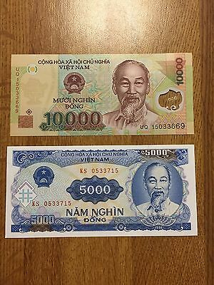 Vietnamese Dong 10000 UNC Banknote Polymer + 5000 VND note combo fast USA ship