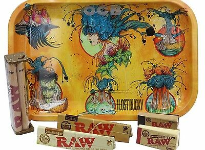 Raw rolling Paper Bundle  Raw King Size Paper  Roller and Tips With OCB Tray