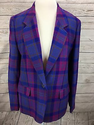 Pendelton Blazer Jacket Woolen Mills Virgin Wool 18 Purple Pink Plaid Vintage