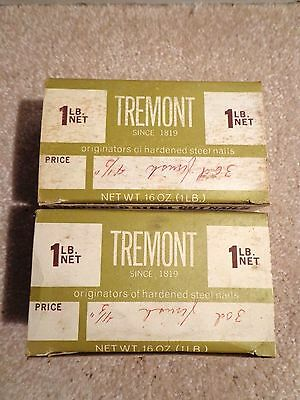 """2 boxes Tremont Nail Co. Old-Fashioned Cut Nails 30d Finish 4 1/2"""" 1lb each box"""