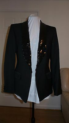"Ladies Black Tuxedo with sequined rolled collar stage wear, labelled 38"" bust"