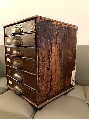 Early c20th Six Drawer Collectors Coin Cabinet With Pigeon Hole Divisions