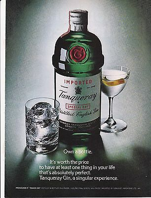 1973 full page ad Tanqueray Gin own a bottble it's worth the price
