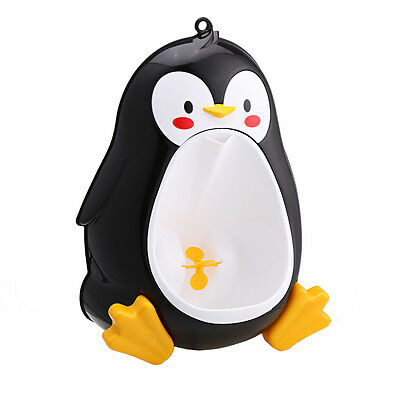 Penguin Standing Potty Training Urinal for Boys with Fun Aiming Target (Black)