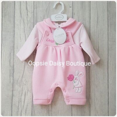 Baby Girls Lovely 2 Piece Pink Smocked Dungaree Set ☆ Jogger Style-Fleecy Lined☆