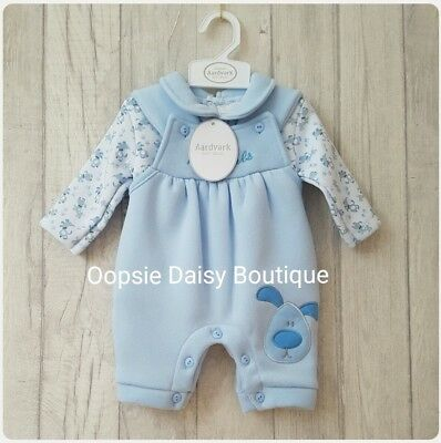Baby Boys Lovely 2 Piece Blue Smocked Dungaree Set ☆Jogger Style-Fleecy Lined☆